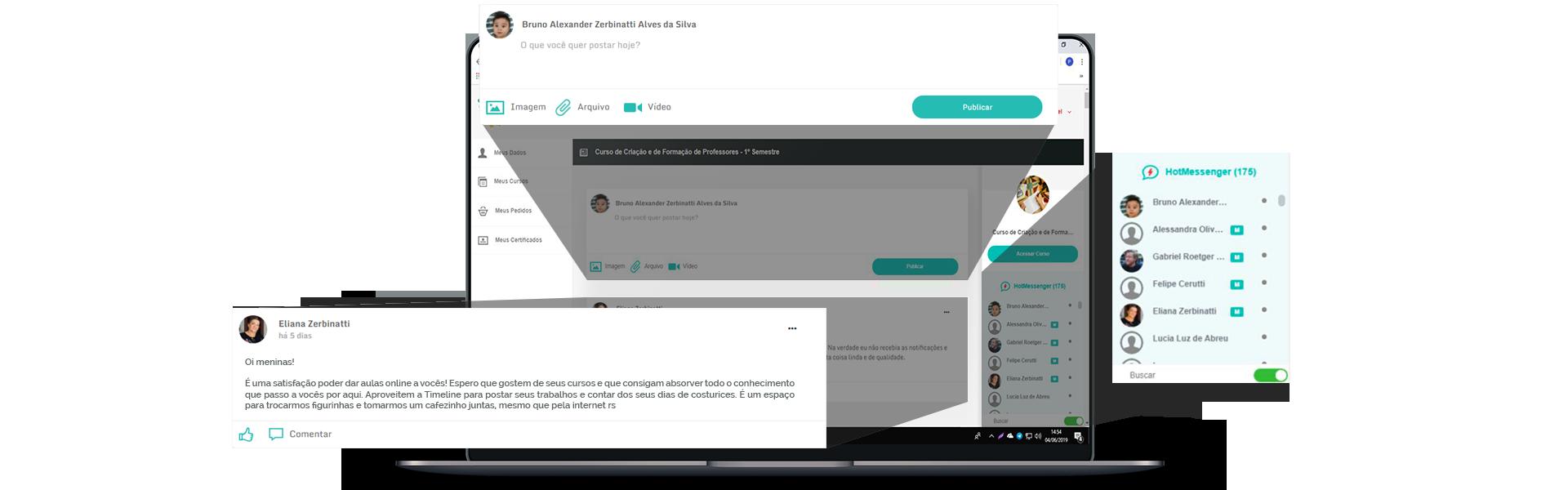 Ambiente desktop de aprendizagem social da Hotscool