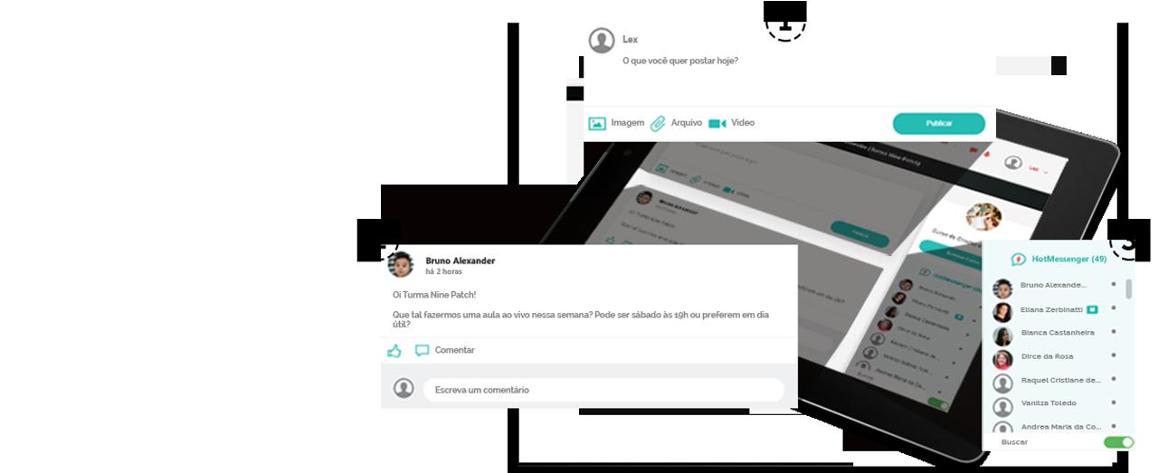Ambiente de aprendizagem social da Hotscool em um tablet